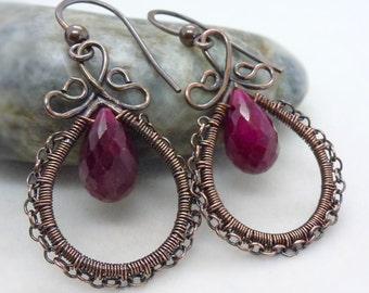 Genuine ruby earrings, Wire wrapped dark pink red ruby teardrop earrings, July birthstone jewelry, Copper earrings