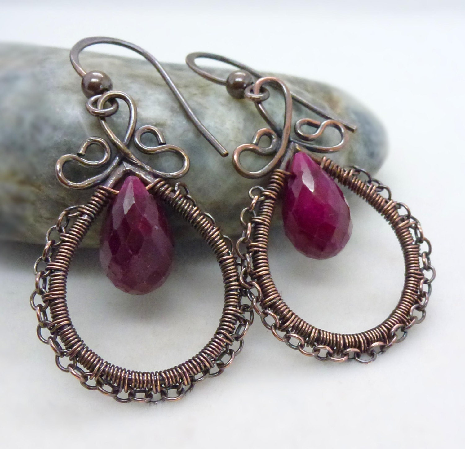 Pink Ruby Jewellery: Genuine Ruby Earrings Wire Wrapped Dark Pink Red Ruby