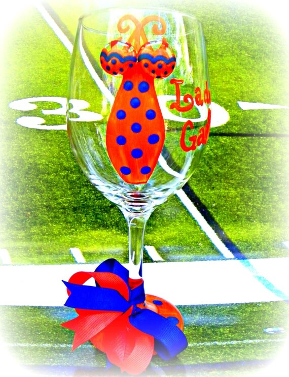 Hand Painted Florida Gators Wine Glass