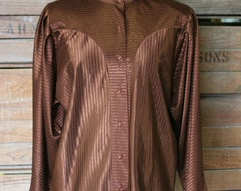 Vintage Blouse - Shiny Textured Brown Secretary Blouse - Button Down - 1970s 1980s Blouse Top - Batwing - Classic Traditional - 42 Bust