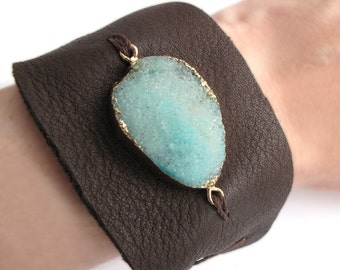 Druzy Bracelet -  Blue Agate Leather Cuff