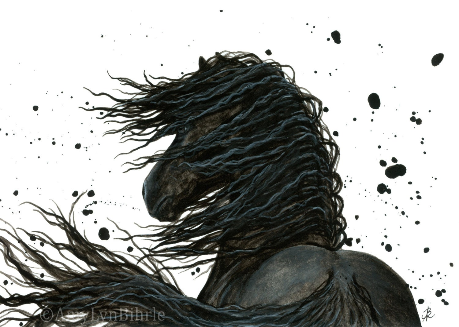 Majestic Black Horse Friesian Abstract Painting Art Prints