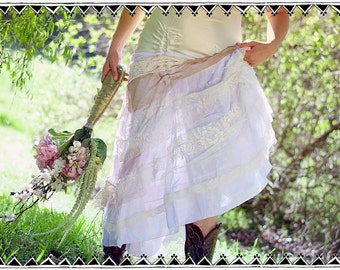 Upcycled Petticoat - tiered tattered lace silk cotton bohemian mori girl wedding underskirt