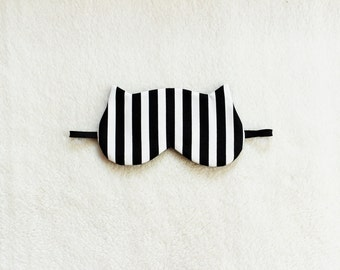 Black and White Striped Cotton Cat Eye Mask
