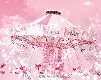 Pink Carnival Prints, Baby Girl Nursery Decor, Pink Ferris Wheel, Baby Pink Carnival Festival Swing Ride Photos, Baby Girl Pink Carnival Art