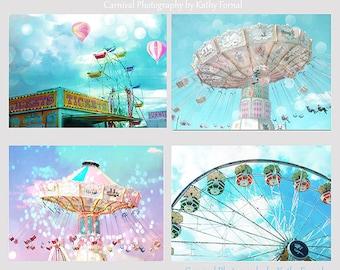 Nursery Decor Prints, Carnival Ferris Wheel Prints, Baby Girl Nursery Decor, Carnival Prints, Aqua Teal Ferris Wheel Ticket Booth Balloons