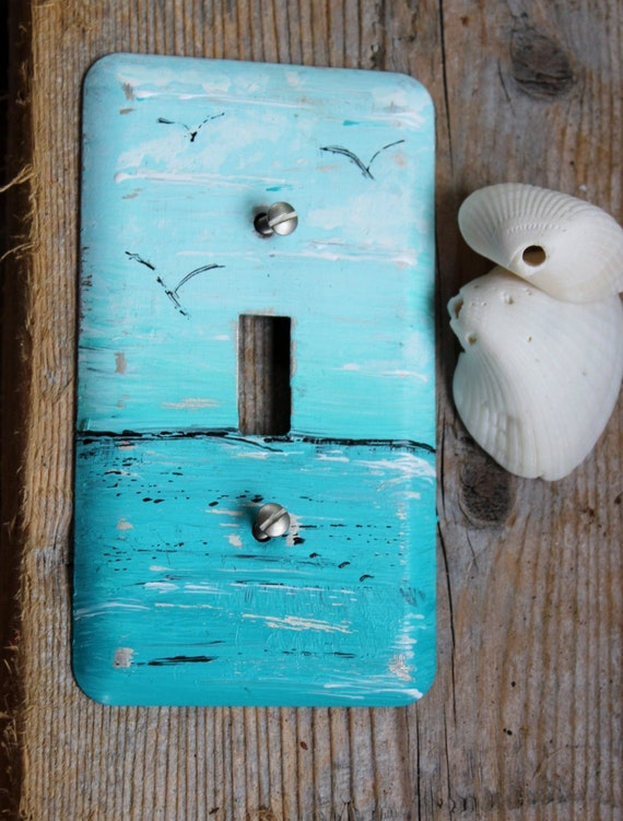 Coastal Room Decor Hand Painted Ocean Light Switch Cover