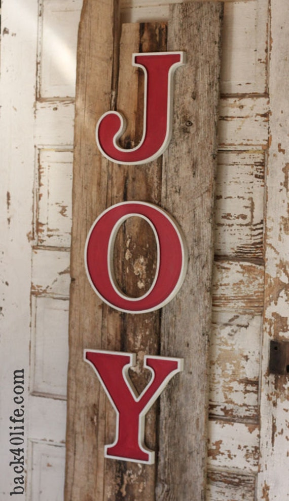 JOY with Rustic Reclaimed Wood Sign- vintage shabby chic cottage decor
