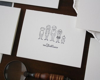 Letterpress Personalized Family Notecards - Illustrated Family Notecards - Set of 25