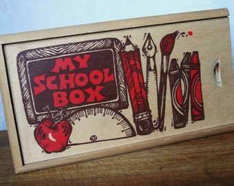 Wood School Box/Pencil/Art Box