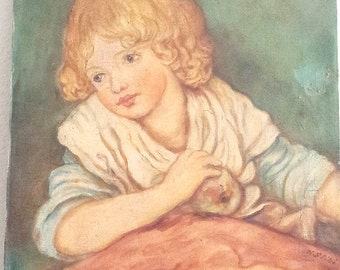 Vintage Child Portrait Original Signed Oil Painting 14x18 FREE Shipping