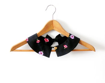 Floral PeterPan Collar Black Detachable Collar Black Collar with Flower
