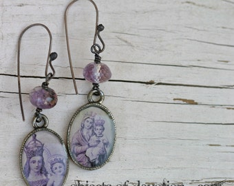 Catholic Jewelry - Religious Jewelry - Catholic Earrings - Mary Earrings - Catholic Gift - Inspirational Jewelry - Mary and Baby Jesus