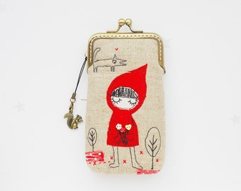 iPhone Case/Glasses Case -- Little Red Riding Hood Free Motion Embroidery( iPhone 7, iPhone 7 Plus, Samsung Galaxy S7 etc. )