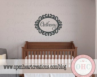 Baby Boy Name Wall Decal - Oval Frame Shabby Chic Vinyl Decals - Personalized Wall Lettering for Girl or Boy 22h X 28w FN0274