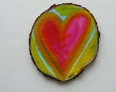Magnet or Ornament Custom Handpainted Tree Slice Magnet 3inches 2 Earth Magnets on back Heather Montgomery Art