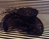 Black with Silver Glitter Mini Top Hat Fascinator
