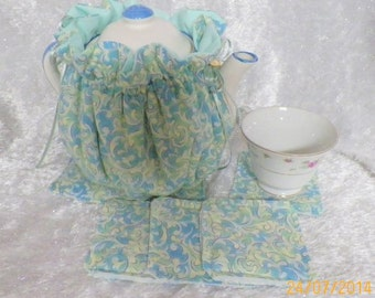Teapot Cozy Pastel Teal Blues and Green Yellow Swirls Colors  Prints Size 4-5 Cup Tea Pot