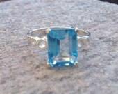 Swiss Blue Topaz and Sterling Silver Gemstone Ring - Emerald Cut Genuine Gemstone