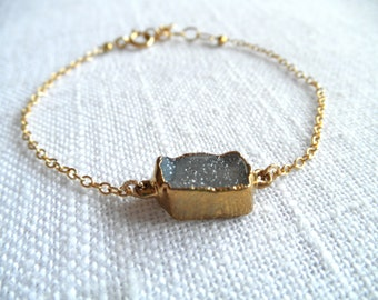 Gray druzy bracelet - gray druzy - gold bracelet - square druzy bracelet - D R U Z Y 282