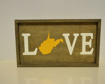 West Virginia State Love Wood Sign (Made to Order)