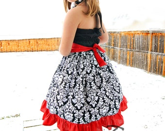 "SALE - Red, White & Black ""Perfect Party"" Halter Dress - Girls - Damask - Ruffle - Printed - Birthday - Party - Christmas - Holiday - Photos"
