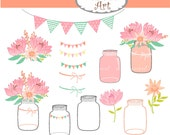 Mason jars and Flowers Clip Art,pink and teal mason jar clip art, flowers clip art  instant download clip art