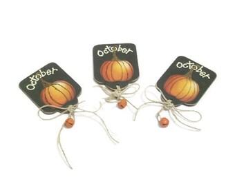 Hand Painted Autumn Lapel Pin Or Magnet   October Pumpkin Pin