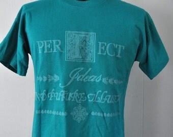 Womens Vintage TShirt Tee Shirt Italy Teal Aqua Blue Green Size MEDIUM