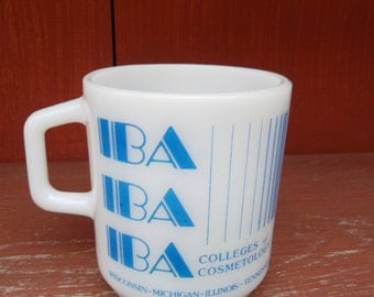 Vintage Milk Glass  Advertising Mug GALAXY  IBA Colleges of Cosmetology