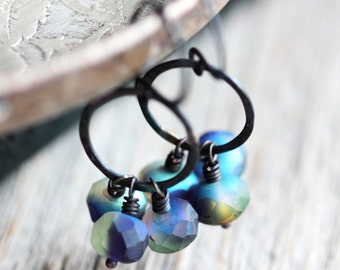 Labradorite Blue Flash Earrings with Czech Glass Beads and Small Hoops - Black Magic - Fall Winter Fashion Jewelry