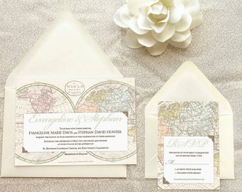 Old World Map Travel Wedding Invitations - Destination Wedding - World Map Wedding - World Traveler