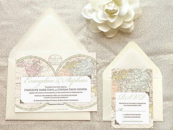 old world map travel wedding invitations destination wedding, Wedding invitations