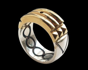 925 Solid Sterling Silver Atlantis Ring- 24k Gold Plated -Black Finish- ALL SIZES