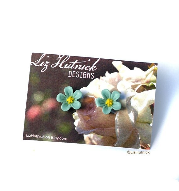 Forget Me Not Earrings. Aqua Flower Stud Earrings. Flower Posts