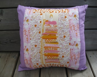 Princess and the Pea Pillow Cover - Heather Ross fabric, Pinks, Purples