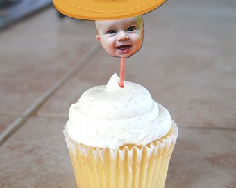 Sombrero Hat Fiesta Photo Cupcake Toppers - Printable File. Great for Cinco de Mayo parties!