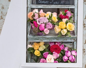 Paris Photography Notecard - Paris Flower Shop Card, French Roses Photo Notecard, Stationery, Blank Notecard