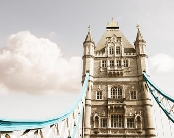 London Photography - Tower Bridge, England Travel Photograph, Large Wall Art, Neutral Home Decor