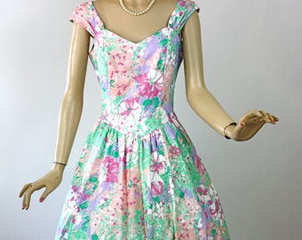 Vintage 80s Floral SunDress Lanz Originals Colorful Cotton Tea Length Full Skirt Bust 38