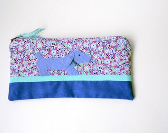 Zipper Pouch, Pencil Case, or Cosmetic Bag - Stargazer in Berry Pink, Aqua, Blue, White and Periwinkle with Felt Dachshund Dog Embellishment