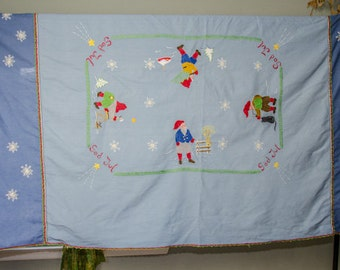 Vintage Scandanavian Xmas God Jul Large Embroidered Tablecloth