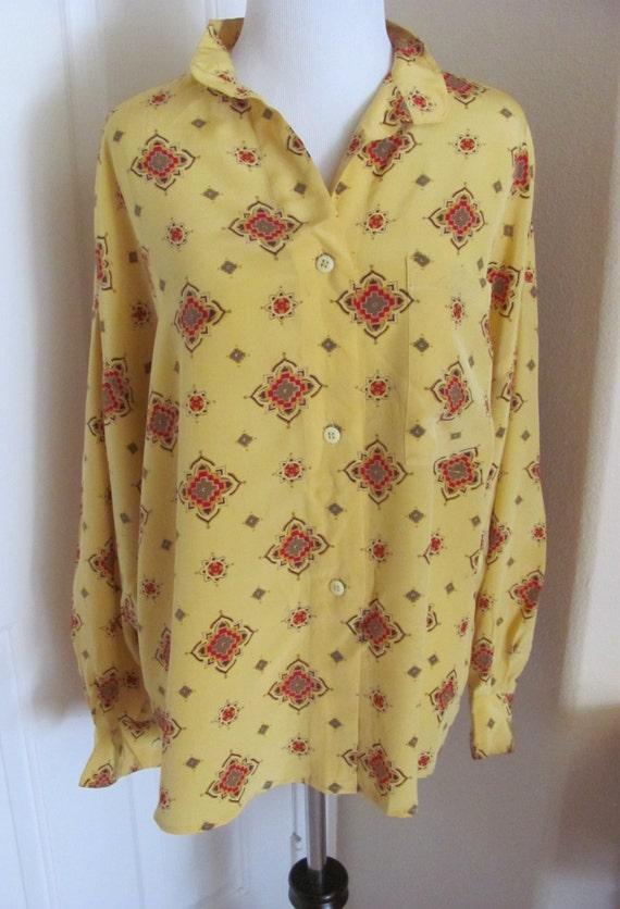 Yellow Silk Blouse Ladies 78