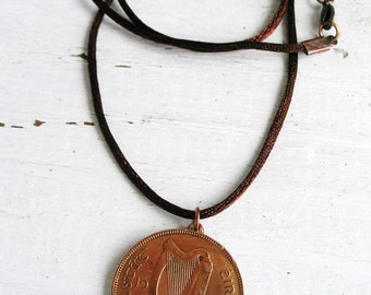 1935 Irish Coin Birth Year Necklace-1935 Penny Ireland Necklace