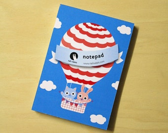 Notebook hot air balloon bunny and cat