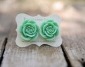 Large Mint Green Rose Flower Earrings << Bridesmaid Earrings << Wedding Party Gifts