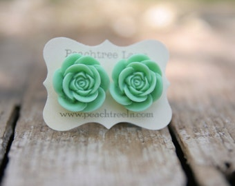 Large Mint Green Rose Flower Earrings << Bridesmaid Earrings << Wedding Party Gifts