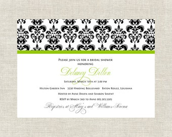 Classic Damask Bridal Shower Invitation in Apple Green and Black