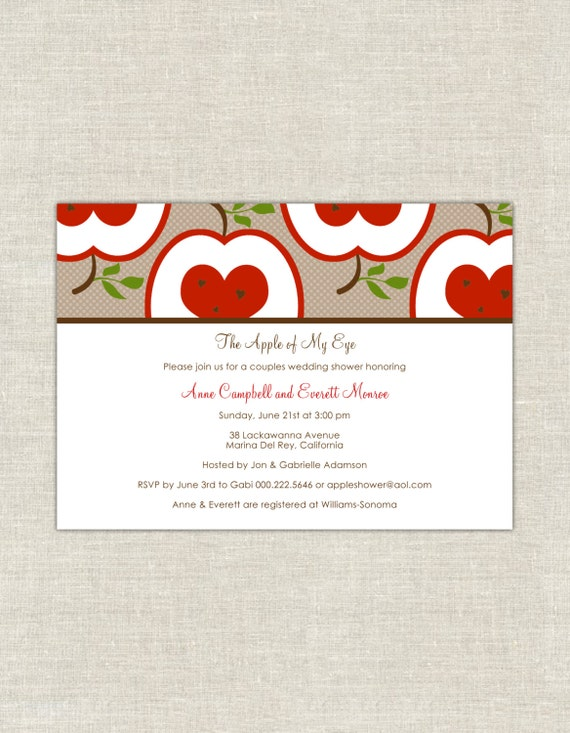 The Apple of My Eye Bridal or Wedding Couples Shower Invitation in – Couples Shower Wedding Invitations