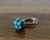 Vintage Sterling Silver and Turquoise Swinging Ball Ring - Size 6 Adjustable - RagNBoneVintage
